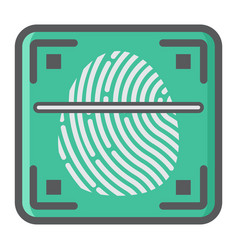 fingerprint scanner colorful line icon id vector image vector image