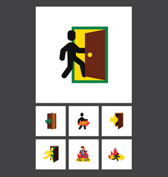 Flat icon door set of emergency exit entry and vector