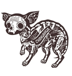 Floral chihuahua vector