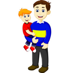 Funny cartoon father holding his son vector