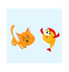 Funny smiling cat kitten character trying to vector
