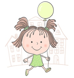 girl baloon color vector image vector image