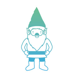gnome with costume in degraded green to blue color vector image vector image