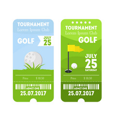 golf sport ticket set vector image vector image
