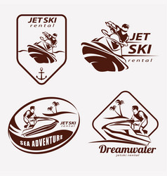 Jet ski set of stylized symbols emblem and label vector