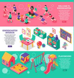 Kindergarten isometric banners vector
