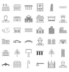 Megalopolis icons set outline style vector