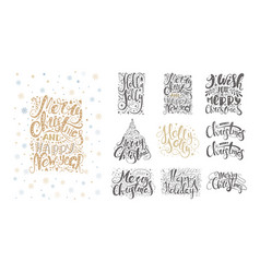 Merry christmas lettering over with snowflakes and vector