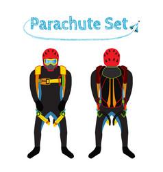 parachuters set - parachute pack bright extreme vector image