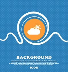 Partly Cloudy icon sign Blue and white abstract vector image