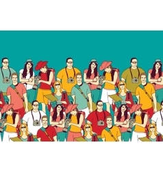 People tourists group and sky summer color vector image vector image