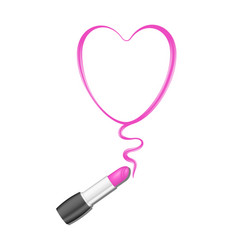 Pink heart and lipstick vector