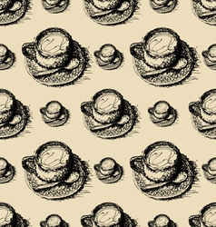 seamless pattern sketch drawing of coffee vector image vector image
