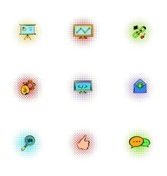 Seo icons set pop-art style vector