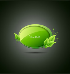 Speech bubble green leaf vector image vector image