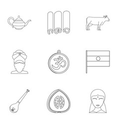 Travel to india icon set outline style vector