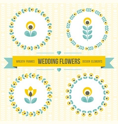Wedding design elements - frames and flowers vector image