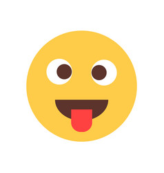 Yellow smiling cartoon face show tongue fool emoji vector