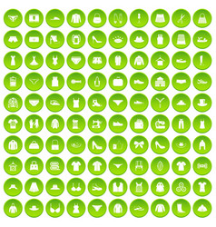 100 sewing icons set green vector