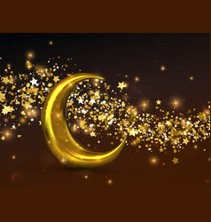 Crescent golden moon vector