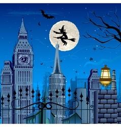 Witch flying on halloween night vector