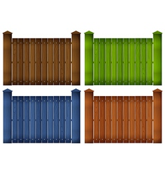 Four colorful wooden fences vector