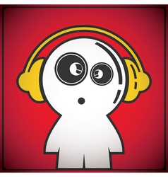 Funny boy with headphones vector image