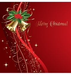 Merry christmas card with gold bells vector