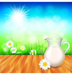 Milk jug on wooden table nature background vector