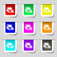 Cash register machine icon sign set of vector