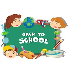 Back to school theme with students and objects vector image