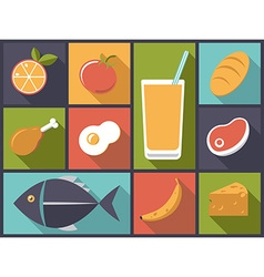 Everyday food icons vector
