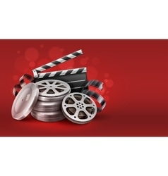 Online cinema with movie tape vector
