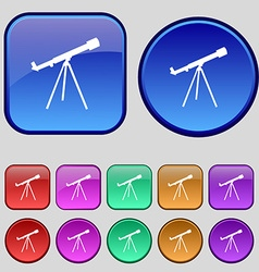 Telescope icon sign a set of twelve vintage vector