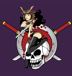Samurai girl pin up vector