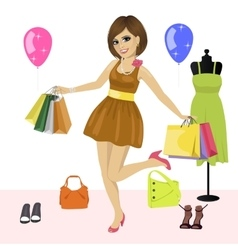 Young woman having fun with shopping bags vector