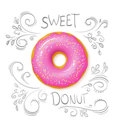 Realistic isolated sweet donut on top view with vector