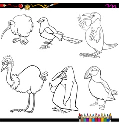 birds cartoon coloring page vector image vector image
