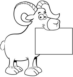 Cartoon ram holding a sign vector