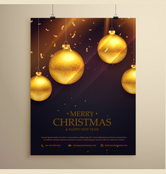 Christmas flyer celebration template with golden vector
