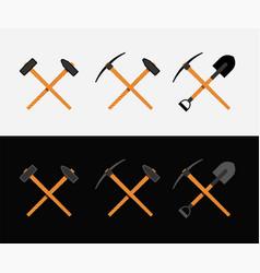 Crossed hammer and shovel vector