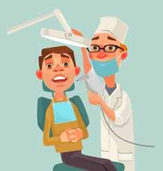 Dentist and patient characters vector