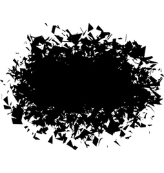 Exploded futuristic round shape in black over whit vector