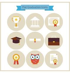 Flat School Graduation and Success Icons Set vector image vector image