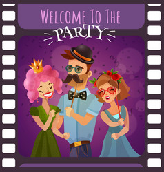 frame of photographic film with party invitation vector image vector image