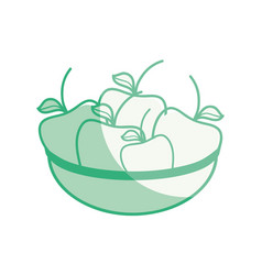 Fresh and delicious fruits inside of bowl vector