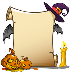 halloween banner with empty paper scroll isolated vector image vector image