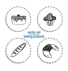 Hand drawn fast food sticker set blackboard icon vector