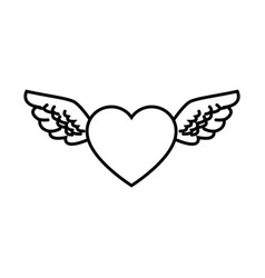 Heart wings love decoration symbol line vector