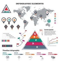 Infographics elements set pyramid chart world vector